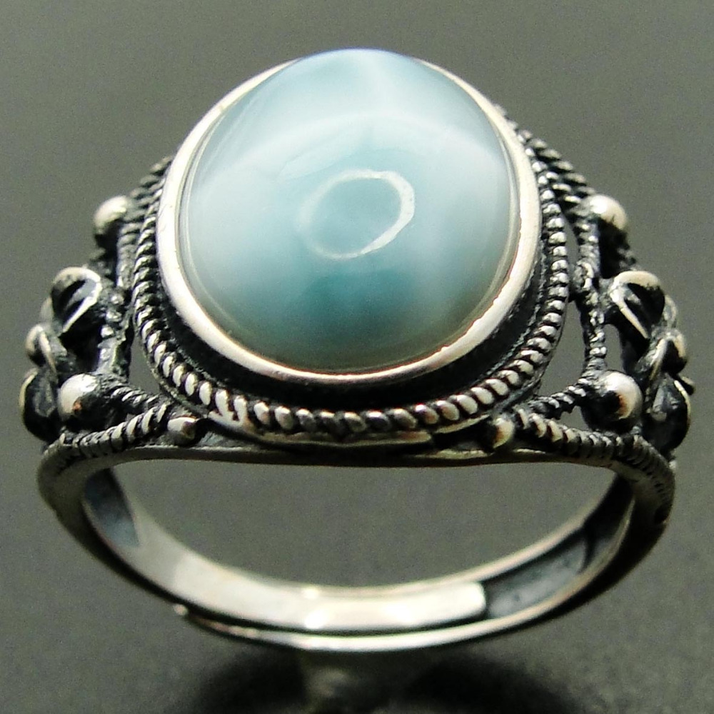 Natural Larimar Rings 925 Sterling Silver Jewelry Antique Designs Larimar Wedding Rings for Men and Women Adjustable Ring Size