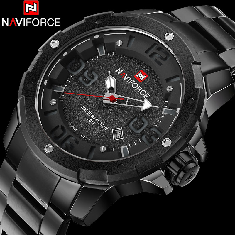NAVIFORCE Brand Fashion Casual Quartz Watch Men 30M Waterproof Sport Watches Blck Stainless Steel Creative 3D Dial Analog Clock weide popular brand new fashion digital led watch men waterproof sport watches man white dial stainless steel relogio masculino