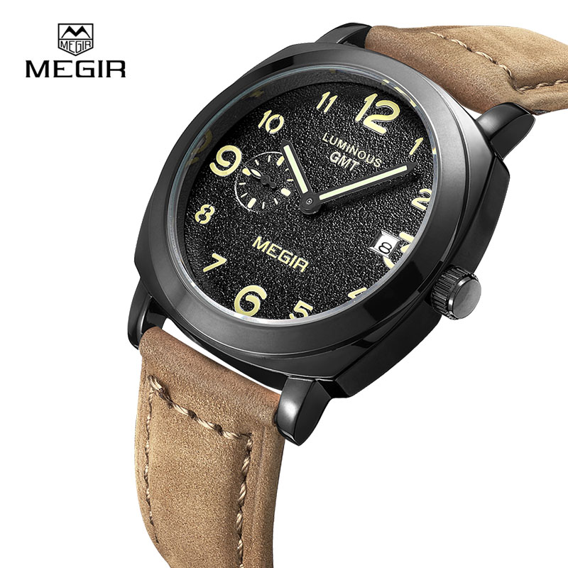 MEGIR Top Brand Business Watch Fashion Luxury Leather Men Quartz Watches Military Wristwatch Clock Erkek Kol Saati Relogios