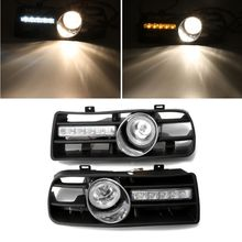 цена на One Pair Front Lower Side Bumper Grille With LED Fog Light & DRL Light For VW GOLF MK4