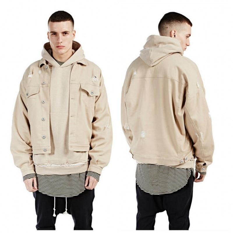 3ec5618e6eec7 Hi streetwear baggy oversize ripped camel khaki kurtka dżinsowa kurtka  znosić hip hop miejski clothing męskie jeansowe zniszczone cholyl