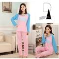 Novo 2016 primavera outono letra dos desenhos animados conjuntos de pijama mulheres camisolas macacão pijama para meninas pijamas de algodão treino