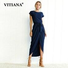 Vitiana для женщин; Большие размеры XS-3XL Повседневное длинное платье 2018 женские летние элегантные короткий рукав Belt Midi свободные Платья для вечеринок Vestidos