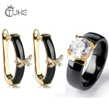 Fashion Healthy Ceramic Jewelry Sets 585 Gold Color With 2.0 Carat AAA Cubic Zirconia Cross Butterfly Earrings Rings Set Jewelry(China)