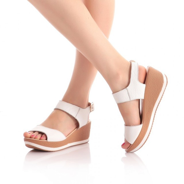 413a75caf01c6 Fashion Women Genuine Leather Sandals 2014 New Medium High-heeled Wedges  Summer Shoes Open Toe Platform Sandals For Women