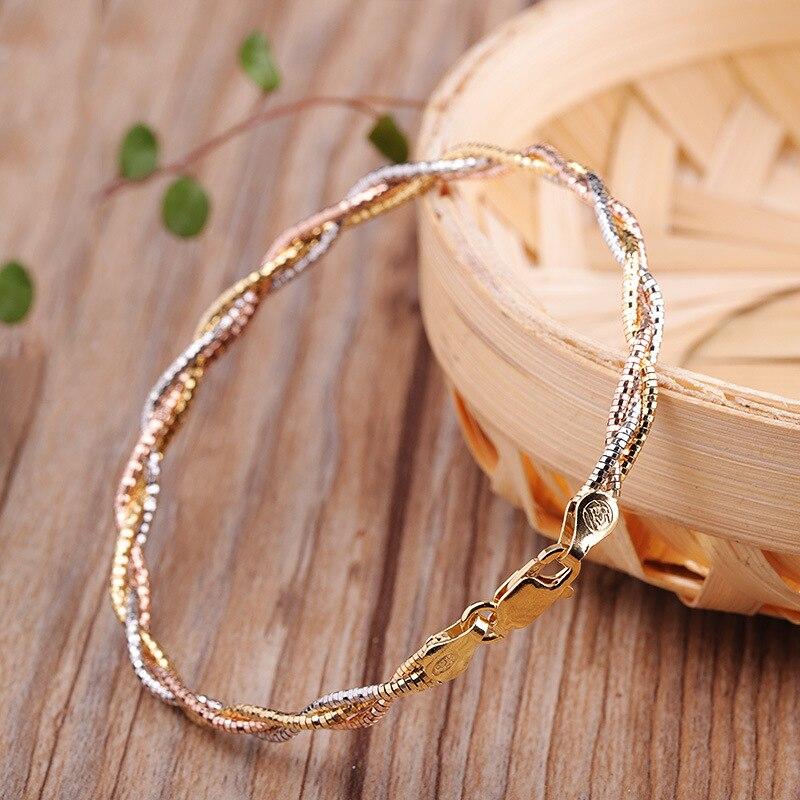 Bracelet tendance en argent de couleur italienne 3 tours pour femmes dames 100% Bracelet en argent Sterling 925 bijoux fins 2019