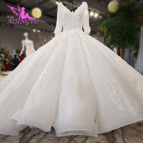 AIJINGYU 웨딩 드레스 레이스 여자 드레스 럭셔리 두바이 양재 모로코 꽃 가운 2021 신부 드레스 온라인 쇼핑