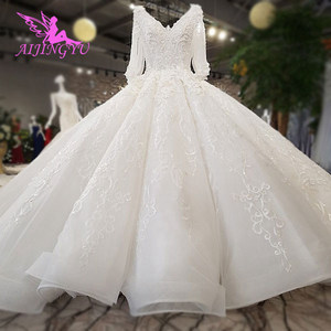 Image 1 - AIJINGYU Wedding Dresses Lace Women Gown Luxury Dubai Couture Moroccan Floral Gowns 2021 Bridal Dress Online Shop