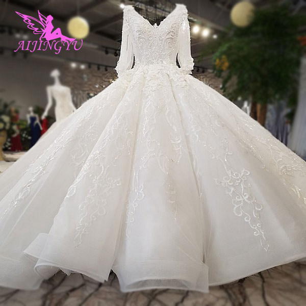 AIJINGYU Wedding Dresses Lace Women Gown Luxury Dubai Couture Moroccan Floral Gowns 2021 Bridal Dress Online Shop