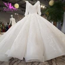 Aijingyu vestidos de casamento rendas vestido feminino luxo dubai couture marroquino vestidos florais 2021 vestido de noiva loja online