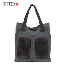 AETOO Новый холщовый мешок ретро mad верховая мех сумка на плечо мужчин и женщин тип сумка поколение прилива пакет