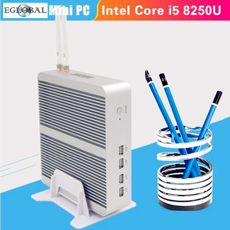 [ Intel Core I5 8250U Quad Core] Eglobal 8th Gen Mini PC Windows 10 Pro Fanless Nuc HTPC 6M Cache Graphics UHD 620 4K TV Box