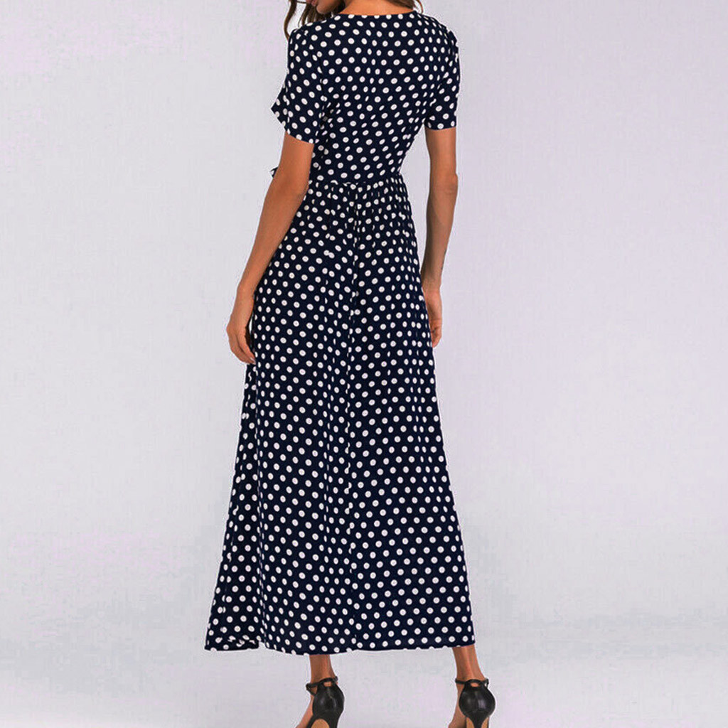 HTB1b.KTaA9E3KVjSZFGq6A19XXa7 - Summer Dress Women O-Neck Short Sleeve Boho Polka Dot Bandage Maxi Long Dress Women Beach Sundress Plus Size Vestidos