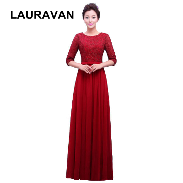 half sleeved women elegant long blue wine red green gray modest gowns party dress lace classic prom gown 2019 designs dress