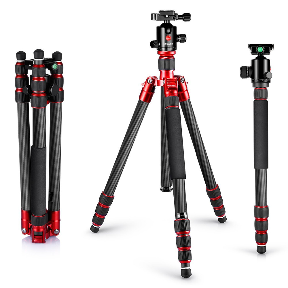 Neewer Carbon Fiber 67/170cm Tripod Monopod 360 Degree Ball Head 1/4Quick Release Plate Bubble Level+Carrying Bag for DSLR