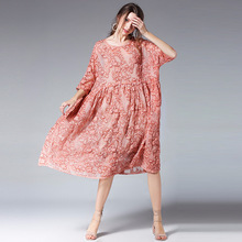 Plus rozmiar 4XL Ciąża Kobiety Casual Loose Mid-cielę Sukienka 2 Sets Wiosna Jesień O Neck Half Sleeve Haft Pregnant Clothes