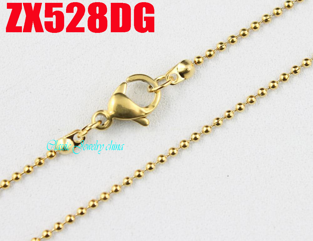 Plated Golden Color 1.2mm Ball Chain With Lobster Clasp Stainless Steel Necklace Beads Chains Fashion Jewelry 20pcs ZX528DG