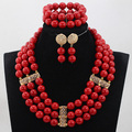 Fashion Gold Plated Dubai Bridal Jewellery Set Charming Red Round Beads African Jewelry Sets Big Beads Red Necklace Set ABH288