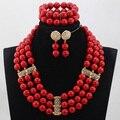Moda Banhado A Ouro Dubai Conjunto De Jóias de Noiva Vermelho Encantador Rodada Beads Africanos Conjuntos de Jóias Grandes Contas de Colar Vermelho Definir ABH288