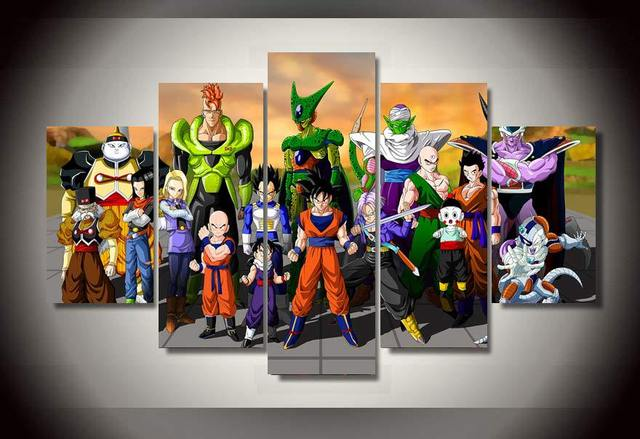 2017 Real Hot Sale (unframed) 5 Pcs Cartoon Dragon Ball Group Painting Wall Art Children's Room Decor Print Film Canvas Picture