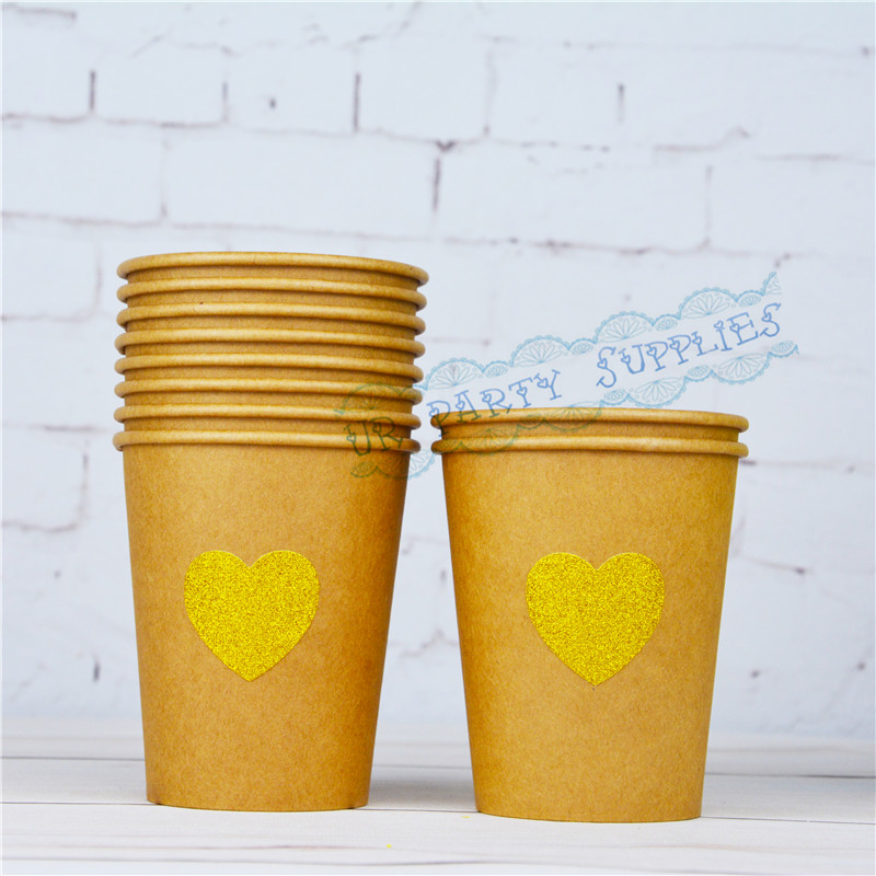 Free Shipping 50pcs Kraft Treat Cups Party Favors Glitter Gold Heart Paper Cups Baby Shower Candy Ice Cream Food Snack Tableware cup