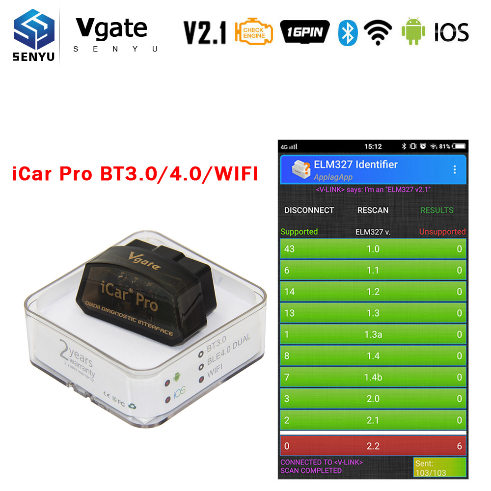 ELM327 Vgate iCar Bluetooth OBD2 Automotive Scanning Tool Car Code Reader