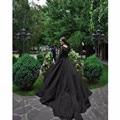 Gótico Negro Vintage Vestidos de Novia de Manga Larga de Encaje de Tul vestido de Bola Tribunal Tren vestidos de noiva Vestidos de Novia Personalizado