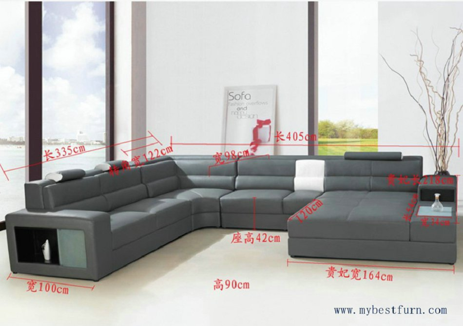 Exceptionnel Hot Sale Modern Orange Sofa Set Large Size U Shaped Villa Couches Real  Leather Sofa With Cabinet Bookself Home Furniture Sofas In Living Room Sofas  From ...