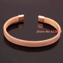 7.08″ * 8MM Fashion Men's Women's 316L Stainless Steel Rose Gold Color Open End Clasp Cable Wire Mesh Bracelet Bangles Jewelry