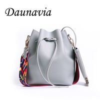 DAUNAVIA Fashion Colorful Strap Bucket Bag Women High Quality Pu Leather Shoulder Bag Brand Desinger Ladies