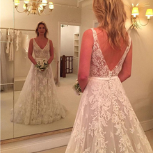 Charming A-line Lace Wedding Dresses V-neck Backless Sweep Train Bridal Gowns Country Garden Vestidos Baratos