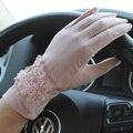 Женщины противоскользящих скольжению уф-защитой сенсорный экран сетки солнцезащитный короткие вождения кросс-одевания кружева бантом перчатки варежки