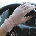 Mulheres antiderrapante antiderrapante proteção UV malha de tela de toque sol bloco curto condução vestir rendas bowknot luvas mittens