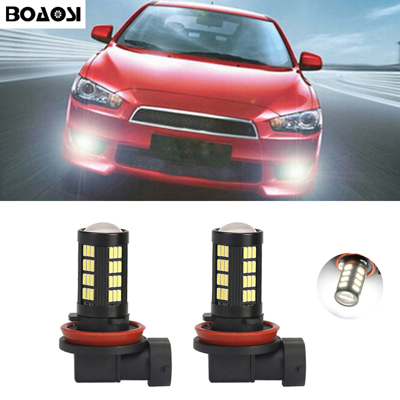 BOAOSI 2x H8 H11 4014SMD Λάμπα φώτων DRL για ομίχλη DRL για το Mitsubishi Lancer 2010-2014 Mitsubishi Asx Car Styling