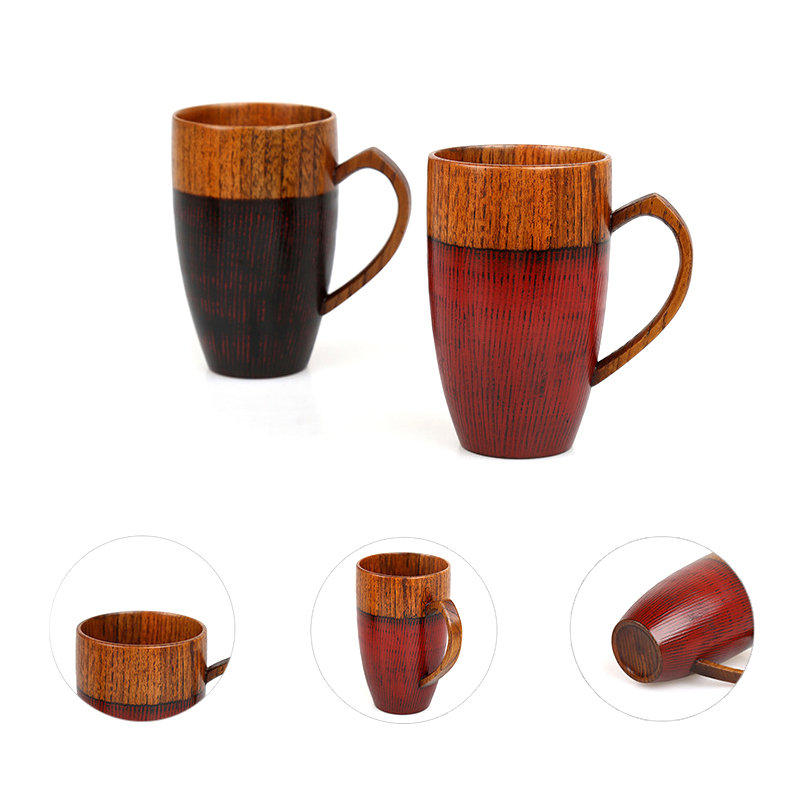 Set of 2 Natural Wood Cups Mugs with Handle Wooden Couples Mugs Coffee TeaMilkJuiceWater Mugs Drinkware Handcraft Wood Gifts (1)