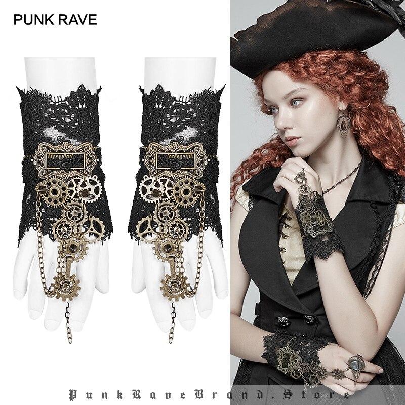 PUNK RAVE Steampunk femmes noir sans doigts Transparent dentelle Gear gants mode Vogue accessoires Club femmes gants 1 paire