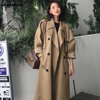 Autumn Fashion Streetwear luxury Ladies Double breasted Long trench coats Classic Loose plus size Women Raincoat outerwear TR003