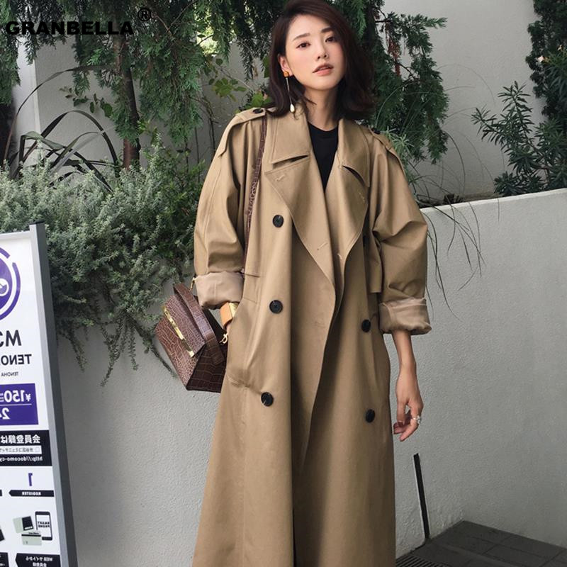 Autumn Top Fashion Streetwear luxury Ladies Double-breasted Long   trench   coats Classic Loose plus size Raincoat outerwear TR003