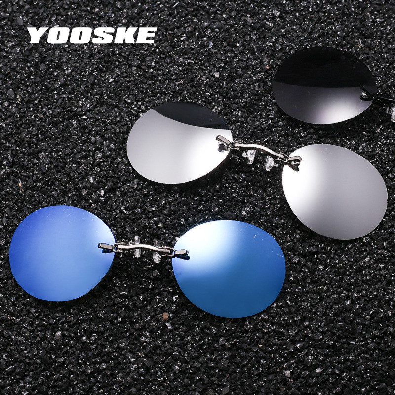 YOOSKE Fashion Clip On Nose Sunglasses Men Vintage Mini Round Sun Glasses Hacker Empire Matrix Morpheus Rimless Sunglasses UV400