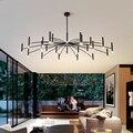 36 Вт 72 Вт современная светодиодная люстра освещение для гостиной ресторана белого или черного зала дизайнерские железные подвесные светил...