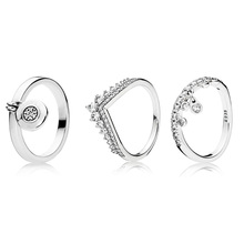 3 Style Silver Rings Pendant Full Sparkling Micro Pave CZ Ring for Women Jewelry