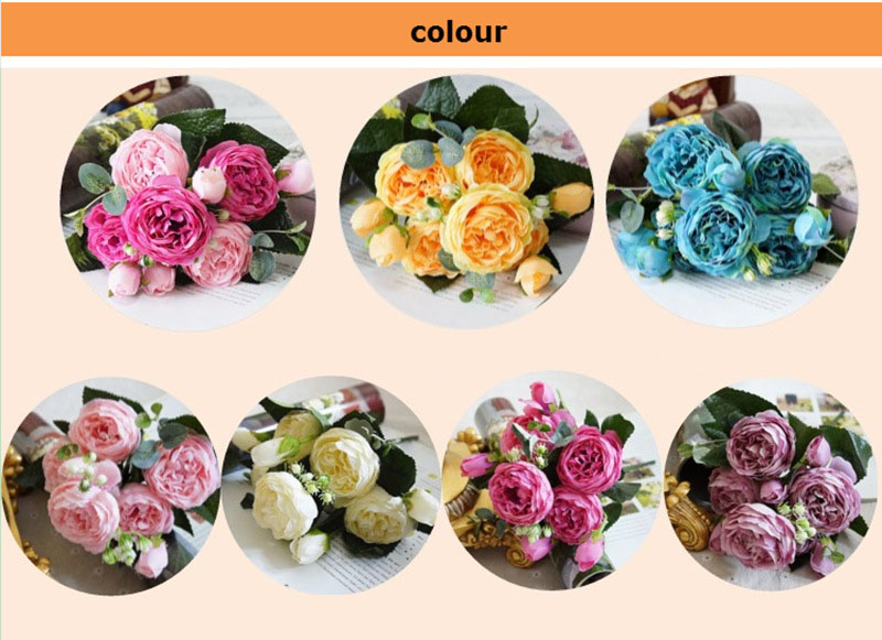 Rose Pink Silk Peony Artificial Flowers Bouquet 5 Big Head and 4 Bud Cheap Fake Flowers for Home Wedding Decoration indoor (20)