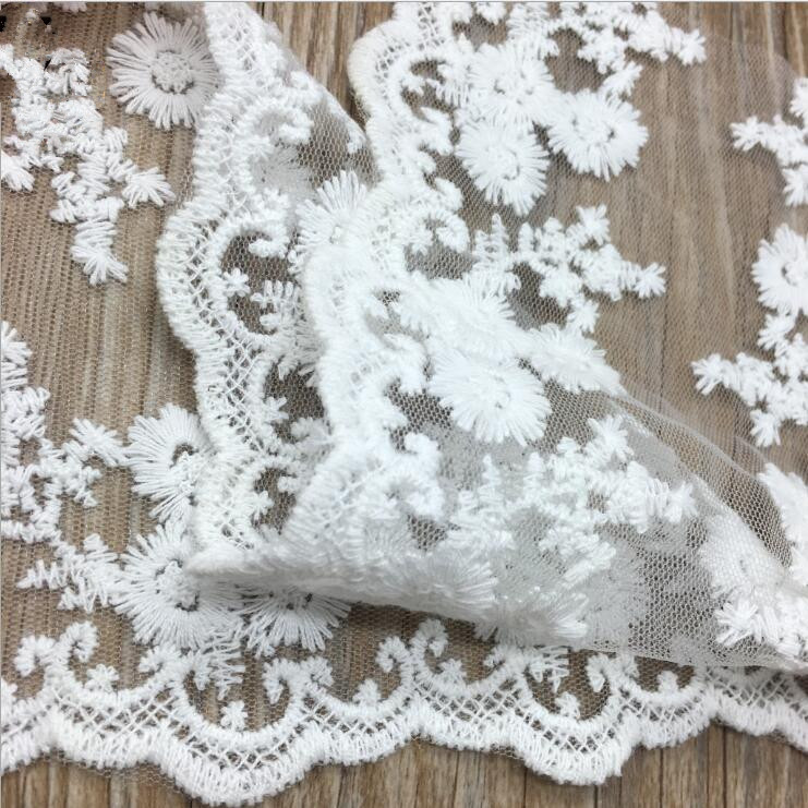 Cheap Off White/White Lace Trim  Embroidered Fabric Trimming Lace Wedding Decorative Accessories Net Lace Fabric Ribbon