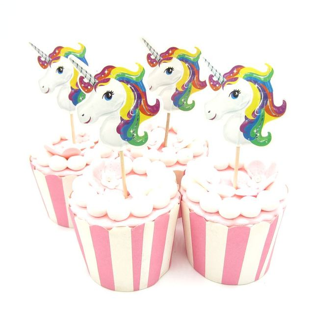 Aliexpress compre 24pcs unicorn horse cupcake topper pick 24pcs unicorn horse cupcake topper pick wedding decoration baby shower birthday party supplies cake baking party junglespirit Gallery