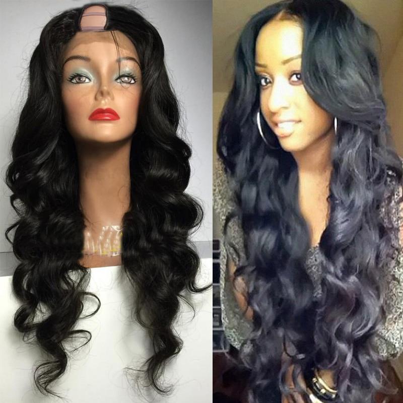 Simbeauty 250 Density Glueless Body Wave U Part Wigs 100% Human Hair 100% Unprocessed Brazilian Remy Hair Left Side Part Wig