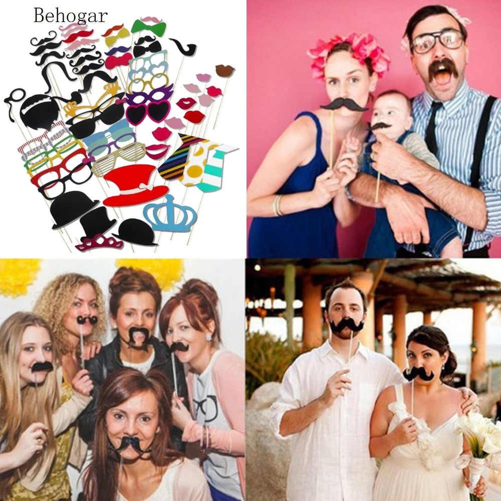 Behogar 60 Pcs Fotografi DIY Photo Booth Alat Peraga Kit untuk Halloween Natal Pernikahan Ulang Tahun Tingkat Sarjana Pesta Selfie Aksesoris