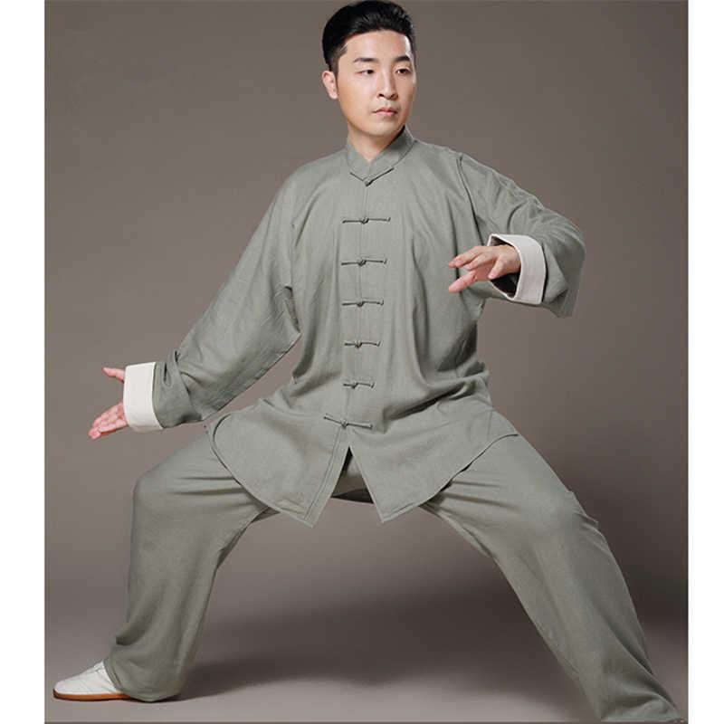 太地リネン服ブルース·リーヴィンテージ白カフ中国詠春カンフー制服武道太極拳スーツ