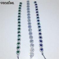 Vecalon 3 colors Lovers Heart shape Bracelet AAAAA Cubic Zirconia White gold filled Party wedding Bracelets for women Jewelry
