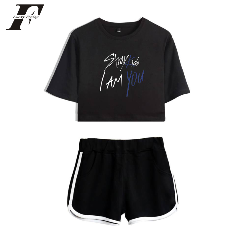 62d8fafef872 2018 BTS Stray Kids I Am You two piece set women Summer tracksuit Shorts  And T