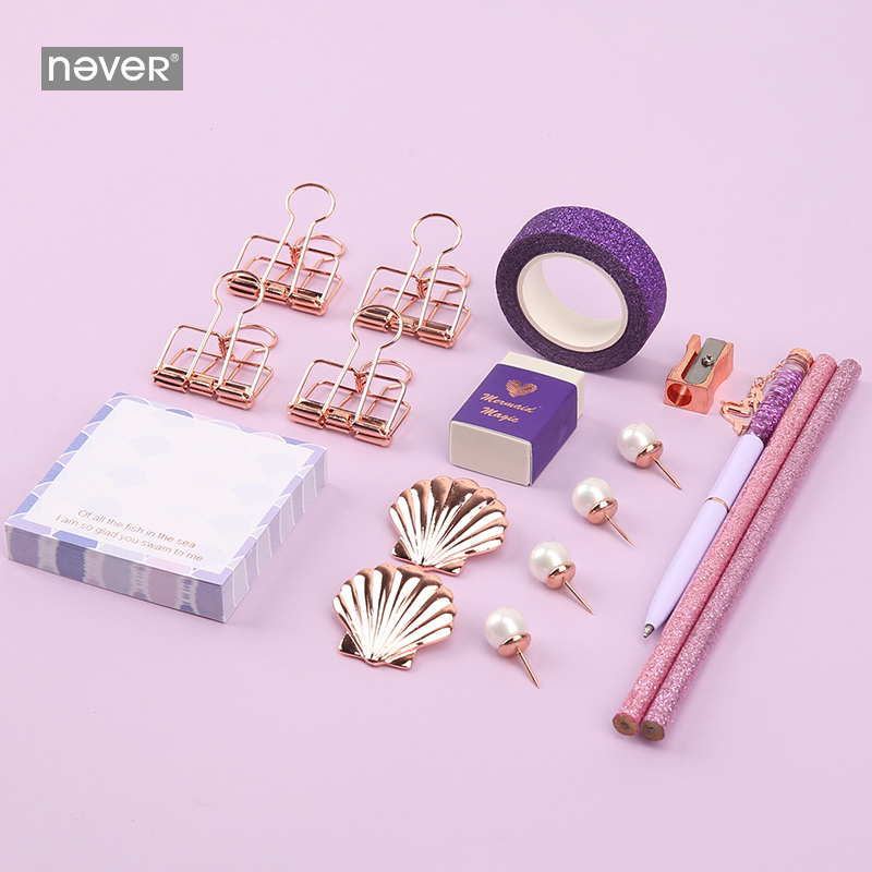Never Mermaid Series Stationery Set For Girls Teacher Paper Clips Ballpoint Pen Sticky Notes Washi Tape Business Office Supplies